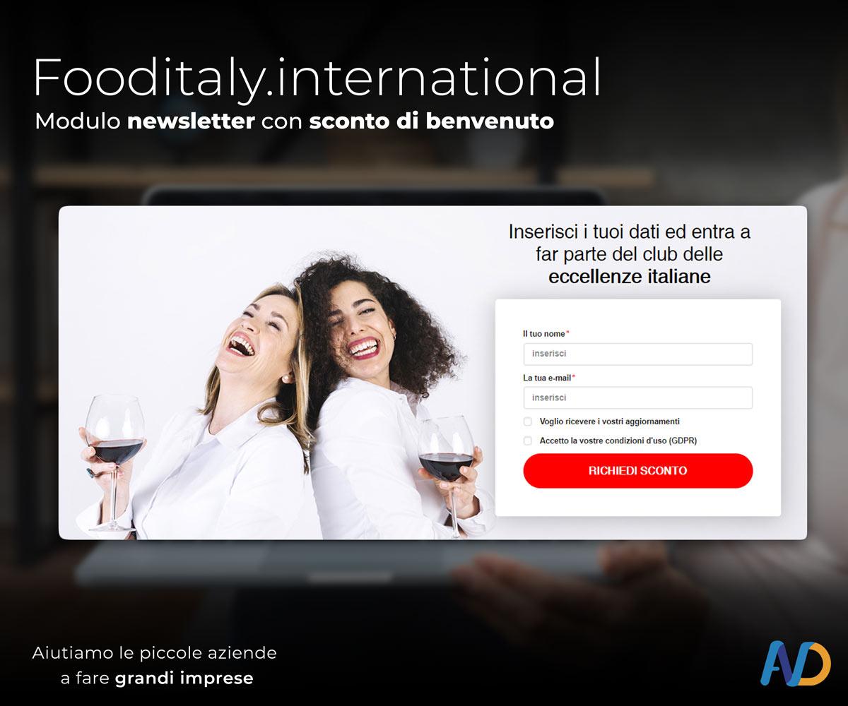 Immagini Presentazione Food Italy Shop Modulo Newsletter
