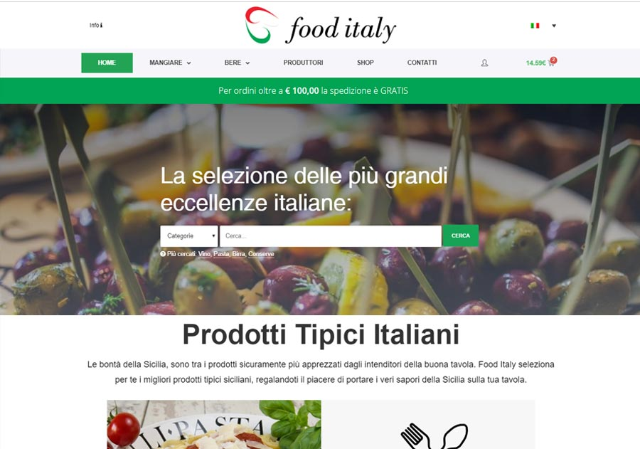 Immagini Presentazione Food Italy Shop Screen