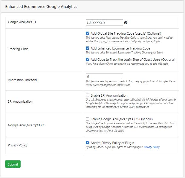 Impostazione Plugin Ecommerce Google Analytics