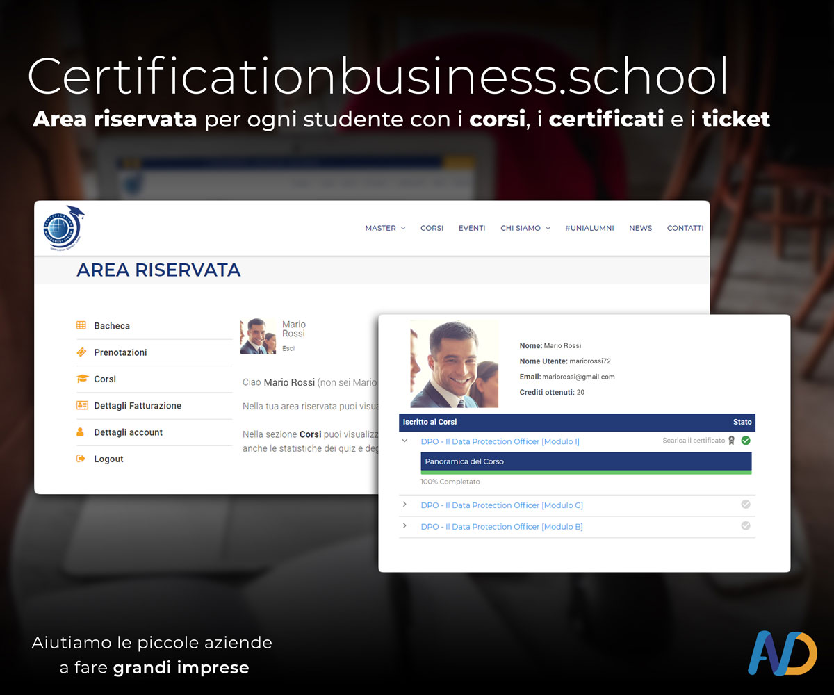 Presentazione Certification Business School   Area Riservata2